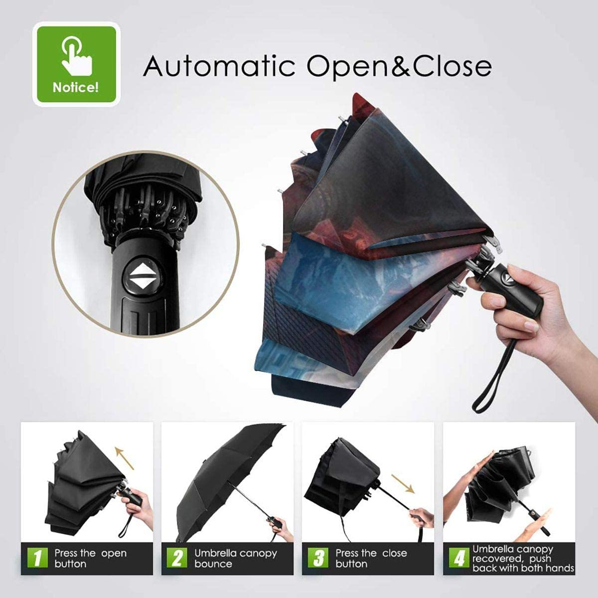 Lovesofun Portable Automatic Umbrella The Avengers Endgame Compact Auto Open Close Folding Business Umbrellas UV Protection Automatic Tri-fold Umbrella for Men and Women