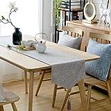 北欧テーブルランナー三角コットンとリネンソリッドカラーブルーコーヒーホワイトアッシュテレビキャビネットランナーテーブルランナータッセル (色 : ライトグレー, サイズ さいず : 36 * 140cm)