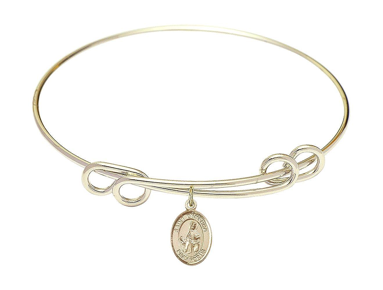 DiamondJewelryNY Double Loop Bangle Bracelet with a St Dymphna Charm.