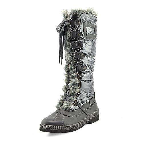 Kick Footwear Womens Neve Invernale Caldo Caviglia Foderato Di Pelliccia  Termica Ghiaccio Zip Lunga Su Stivali 71445ca9472