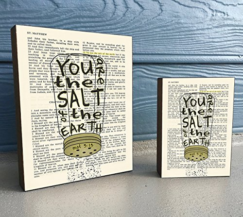 You are the Salt of the Earth - Matthew 5:13 - Vintage Bible verse Scripture Art Print on Wooden Block, Salt Shaker Christian Home & Wall Decor Sign, Old House Dictionary Page, Christmas gift