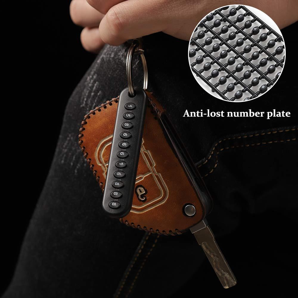RT-TCZ for Jeep Wrangler Key Case Fob Holder Bag Remote Keyless Protector Fit for 2018 2019 2020 Wrangler JL JLU Gladiator JT Brown color