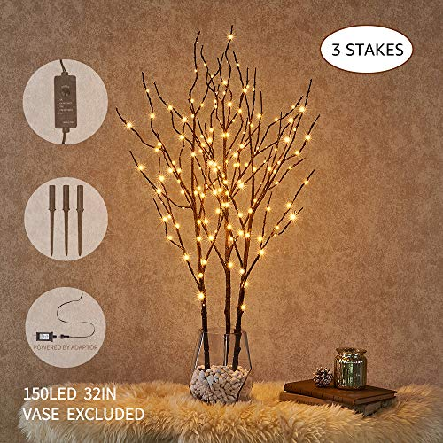 Hairui Pre Lit Artificial Brown Twig Branch with Fairy Lights 32in 150 LED Plug in Lighted Willow Branch for Christmas…