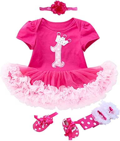 Baby Girls/' 3PCs Black Cake 1st Birthday Outfit Dress Headband Shoe