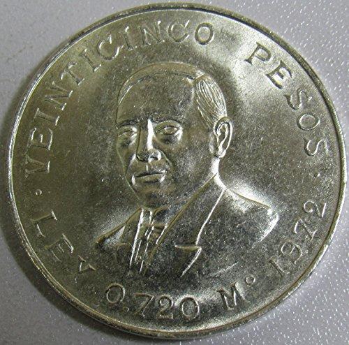 (1972 MX Veinticinco Peso Juarez Silver Commemorative 25 Peso Uncirculated)