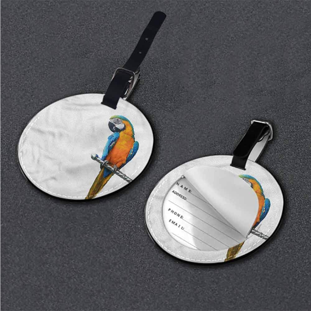 Women Luggage Tag Bird,Tropical Island Exotic Travel Luggage Label