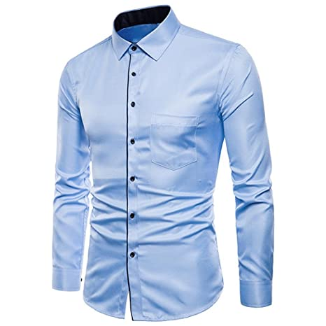 Easytoy Mens Classic Solid Printed Slim Fit Button Down Long Sleeve Business Casual Dress Shirts Oxford Shirt Blue B Xxl