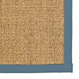 iCustomRug Natural Sisal Area Rug 4 FEET X 6 FEET (4 X 6) Contemporary Border Carpet in Steel Blue