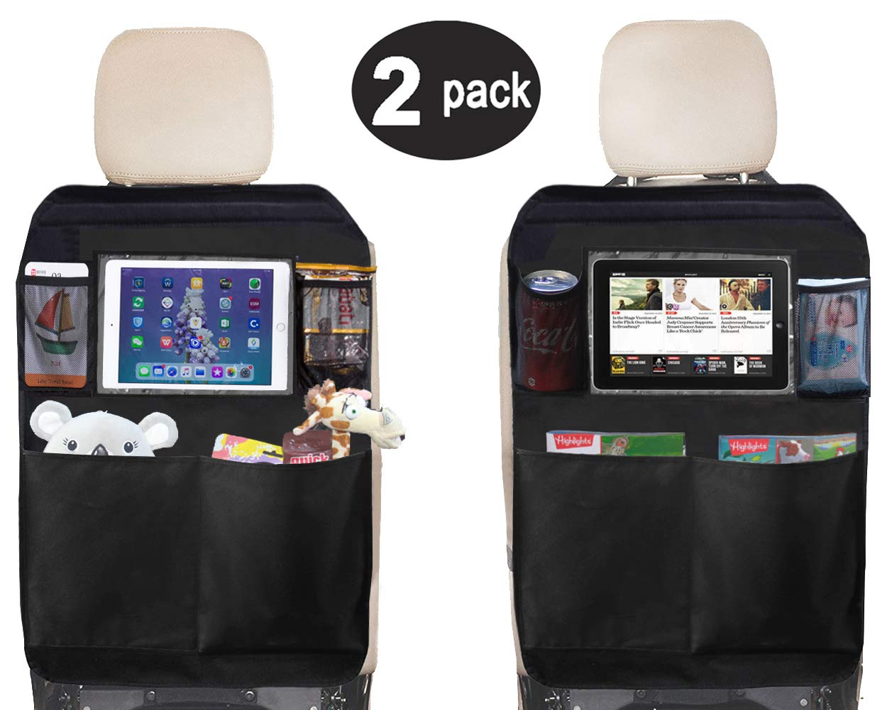 Kick Mat Seat Back Protectors with PVC Pockets Seat Covers for Car Backseat, 2 Pack (Black 2) Sleeping Lamb