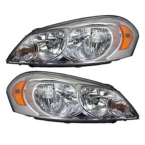 Impala Headlight Assembly - Driver and Passenger Headlights Headlamps Replacement for Chevrolet 25958359 25958360