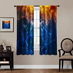 Blackout Curtains for Anime Fans, Rod Pocket Thermal Insulated Darkening Window Drapes for Bedroom, Cute Animal Boys Girls Room Décor, 2 Panels,63x63 inch