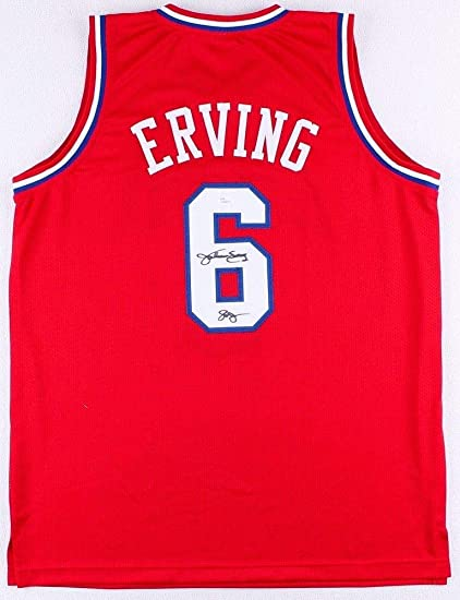 a8aa020ee1e3 Image Unavailable. Image not available for. Color  Julius Erving  Autographed Signed Philadelphia 76Ers Red Jersey Jsa Coa