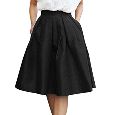 Sue&Joe Women's Flared Skirt A Line Knee Length Plain Swing ...