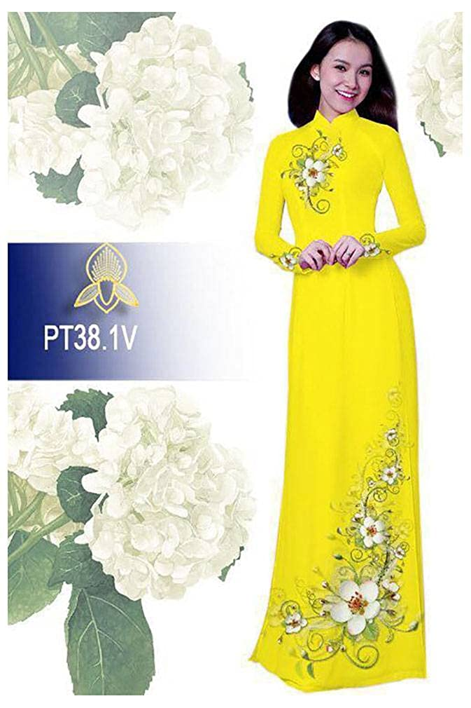 Traditional Vietnamese Long Dress Collections with Pants Silk 3D Ao Dai ADVN00507 All Size