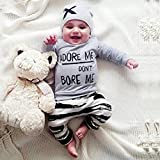 Clearance!!Baby Boy Girl Long Sleeve Letter Print Tops+Pant+Cap Outfits 0-24 Monthes Newborn Clothes Set (Gray, 6M)