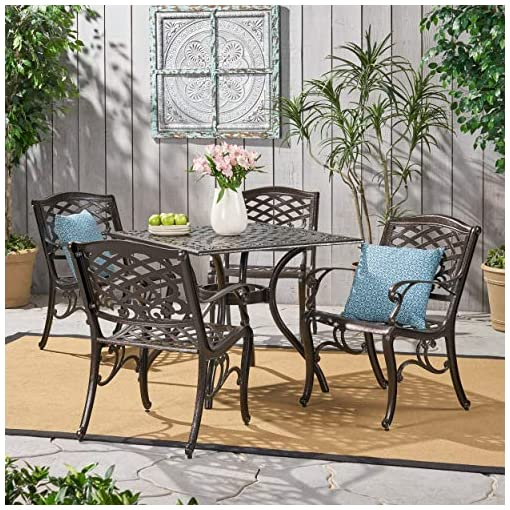 Garden and Outdoor Christopher Knight Home Hallandale Outdoor Sarasota Cast Aluminum Square Dining Set, 5-Pcs Set, Hammered Bronze patio dining sets