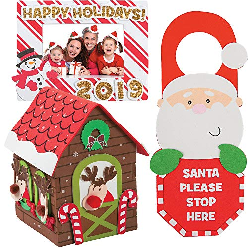 Holiday Craft Kit DIY | 3D Reindeer Stable Foam House, Happy Holidays Dated Picture Frame Magnet & Santa Stop Here Doorknob Hanger | Christmas Kids Boys & Girls Family Activities Project Gift Set