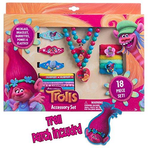 Trolls Girls 18PC Accessory Set Necklace Bracelet Barrettes Terries Elastics