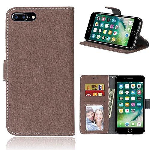 iPhone Case Cover Solid Color Premium PU-Leder Tasche Cover matt-Retro-Flip-Stand Hülle Geldbörse mit Karte Schlitze Foto Frames für Apple IPhone 7 IPhone7 Plus 7 + ( Color : 3 , Size : Apple IPhone 7