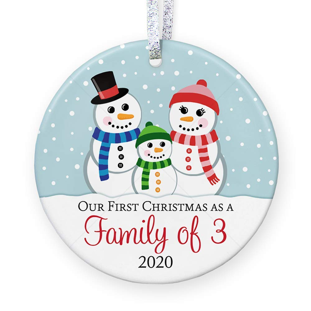3 Flat Circle with Metallic Gold Ribbon Our First Christmas as Mommy and Daddy Deer Woodland Animals 2020 New Parents Present Idea Floral Ceramic Round Ornament Free Gift Box