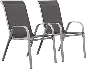 Juego de 2 sillas jardín Textileno Cordoba - Phoenix - Gris oscuro: Amazon.es: Jardín