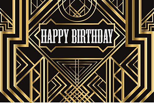 7X5FT Great Gatsby Birthday Adults children party black and gold golden banner photo studio booth background newborn baby shower photography backdrops lv-1005 (Gatsby Backdrop)