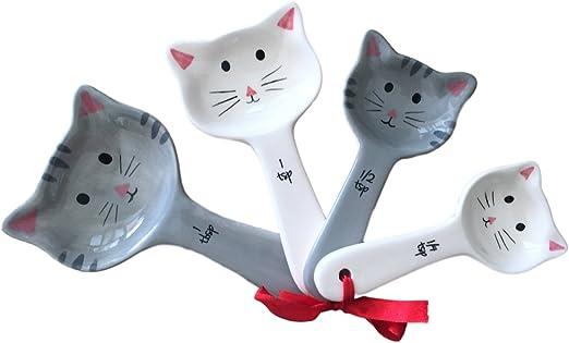 Juego de cucharas medidoras de cerámica para gatos, con etiqueta ...