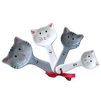 Juego de cucharas medidoras de cerámica para gatos, con etiqueta, ideal para medir todas las cosas pequeñas, cucharas medidoras adorables para gatitos: ...