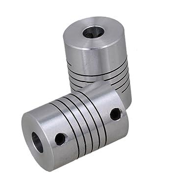 ukcoco accoppiamenti Árbol Flexible 2pcs, acoplador Motor Passo-Passo Conector Codo de Acero Inoxidable para Impresora 3D Plateado 5x8x25mm