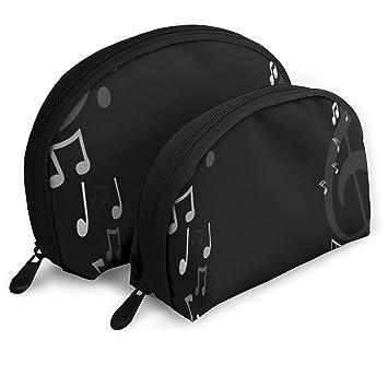 Amazon com : Makeup Bag Music Symbols Black Portable Half