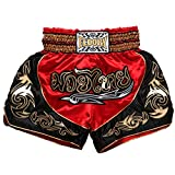 FLUORY Muay Thai Fight Shorts,MMA Shorts Clothing Training Cage Fighting Grappling Martial Arts Kickboxing Shorts Clothing , MTSF12RB , Large