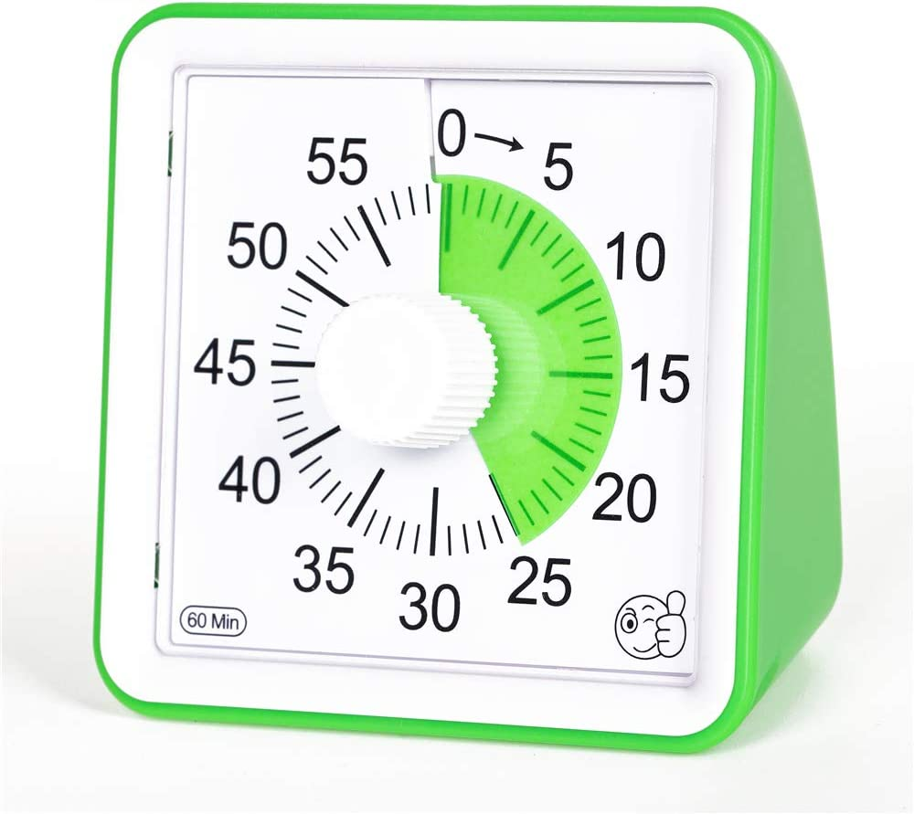 Brisica 60-Minute Visual Analog Timer, Countdown Clock for Classroom, Kids with Autism, Silent Timer, No Loud Ticking, Kitchen Minute Timer with Low & High, 3 & 60 Sec Alarm (Green)