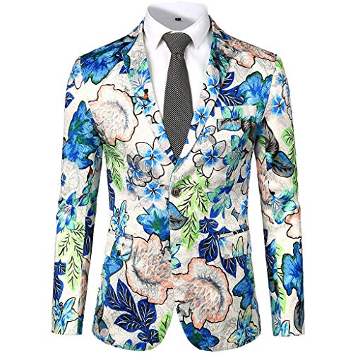 - Men's Dress Shirts Coat, Long Sleeve Floral Suit Notched Lapel Slim Fit Stylish Blazer Jacket for Party,Wedding White