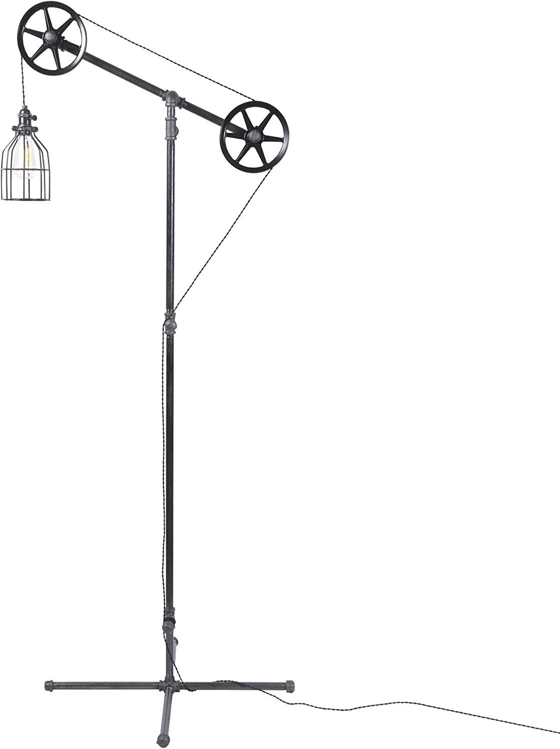 West Ninth Vintage Black Pendant Industrial Standing Floor Lamp with Black Steel Wheels – Use in Any Room – Add Character to Your Office, Living Room or Bedroom