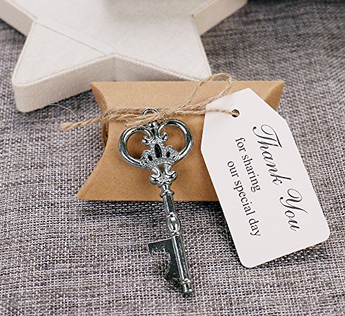 50pcs Wedding Favors Candy Box w/ Antique Skeleton Key Bottle Openers Escort Card Thank You Tag Pillow Box (Key Style #11)