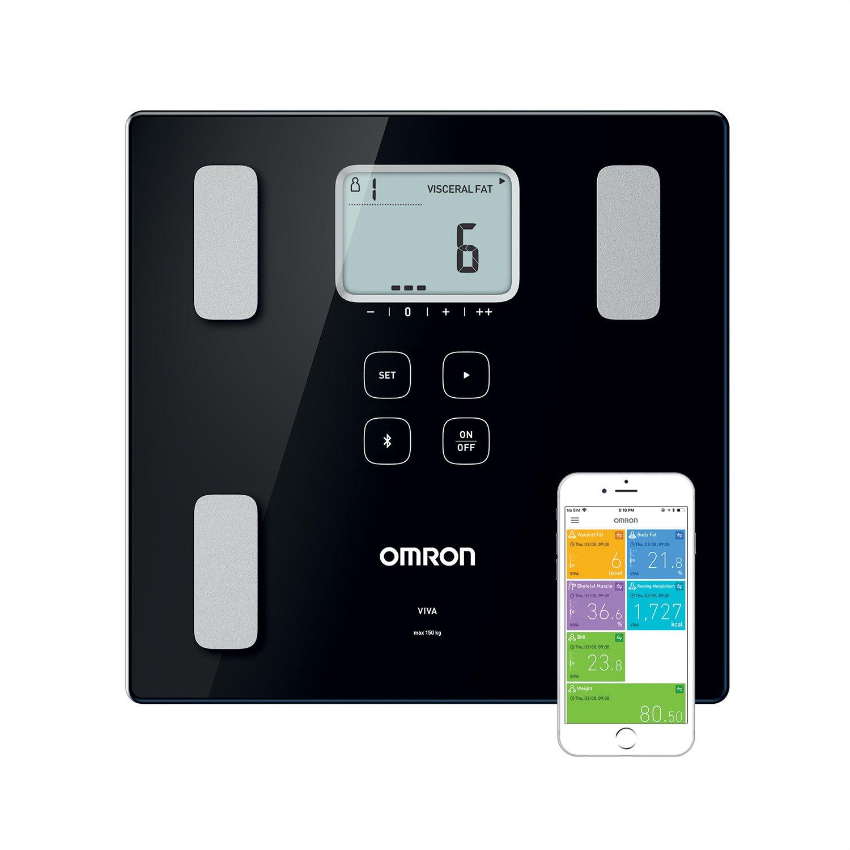 OMRON VIVA Bilancia Diagnostica Smart, Bluetooth, App OMRON Connect, Dispositivo Medico Clinicamente Validato, Nero HBF-222T-EBK