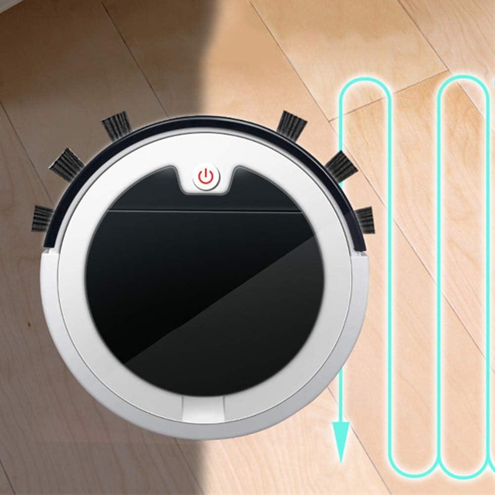 GAOJUNMEI Robot Aspirateur Haute Aspiration, avec télécommande, CAPT.Chute, Travaux sur Le Disque Plancher Bas Pile Tapis, Poils d\'animaux, Rouge Lili (Color : Red) White