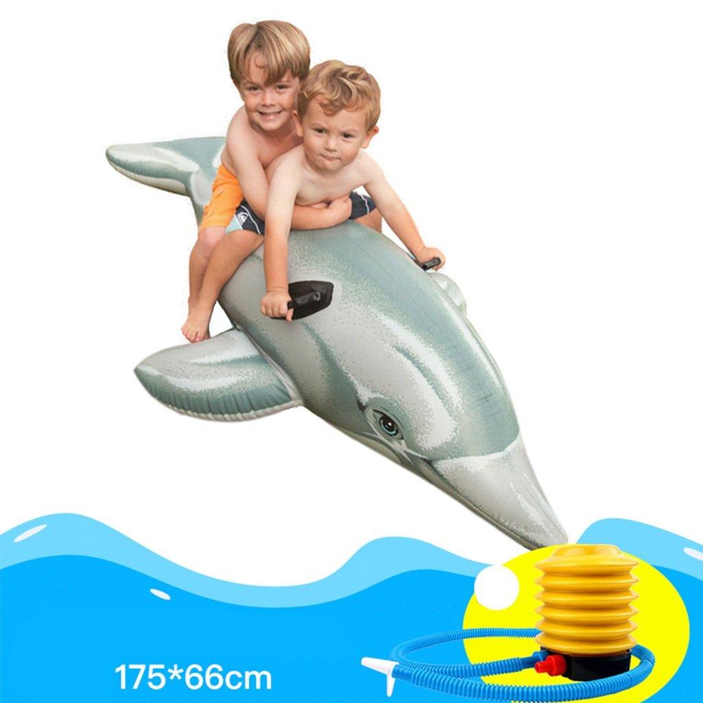 CHENGYI cama flotante, Montajes acuáticos montados Juguete inflable para niños adultos Juguetes Fila flotante de delfines Espesar anillos de natación para niños ( Tamaño : 17566cm )