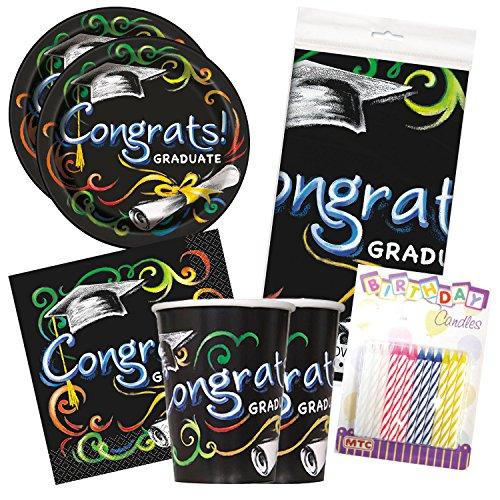 Chalkboard Grad Graduation Celebration Party Tableware Deluxe Bundle Plates Napkins Serves 16