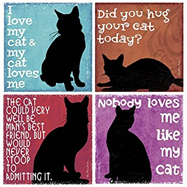 Thirstystone Stoneware Coaster Set, Nobody Loves Me Like My Cat
