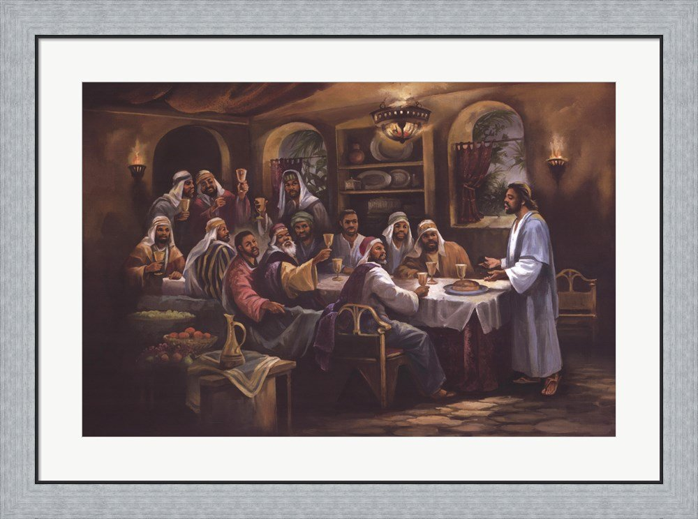 Black Last Supper by Beverly Lopez Framed Art Print Wall Picture, Flat Silver Frame, 36 x 30 inches