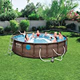 """Bestway 56717E 18' x 9' x 48"""" Power Steel Swim Ways Above Ground Oval Swimming Pool Set with 1500 GPH Filter Pump, Pool Cover, Ladder, and Ground Cloth"""