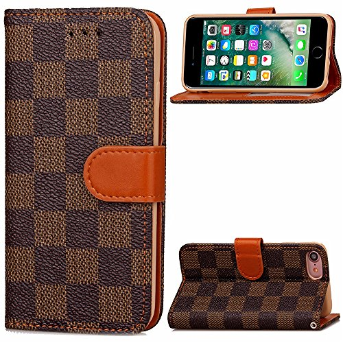 DSLSM iPhone 8 Case Wallet Luxury Grid Checker Faux Leather Fashion Designer Magnet Flip Case Skin Cover Stand with Card Holder for iPhone 7 iPhone 8 (Color : Brown) (Best Designer Card Holder)