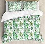 Cactus Decor King Size Duvet Cover Set by Ambesonne, Hand Drawn Artwork Different Cactuses Floristics Mexican Summer Pastel Tones, Decorative 3 Piece Bedding Set with 2 Pillow Shams, Multicolor