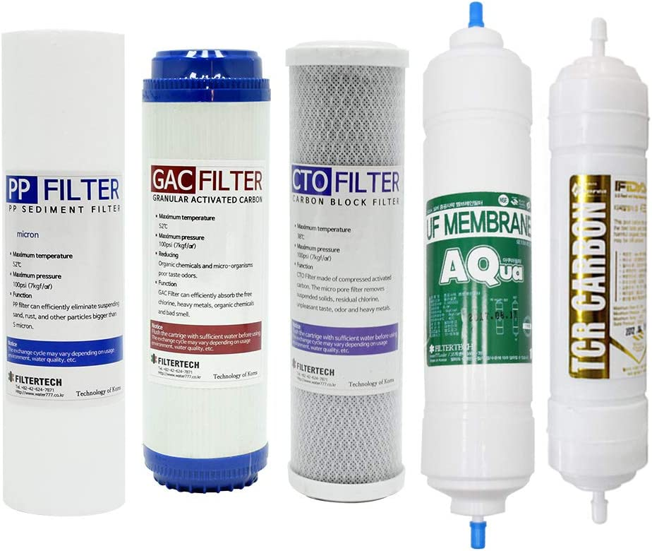 5-Stage Housing-type Refill Filter Set PP//GAC//CTO//UF Membrane//TCR Carbon