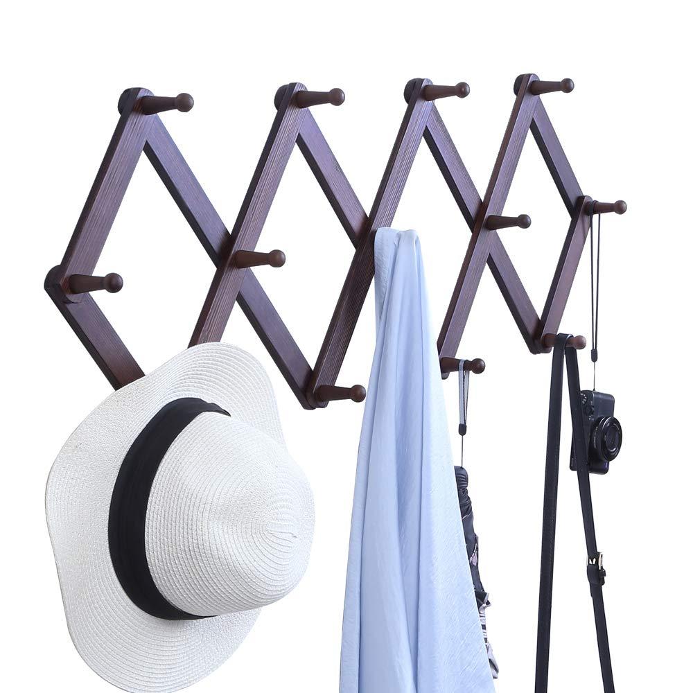 Cintre avec 5 Pat/ères Chapeaux OROPY Porte-Manteau Mural en Bois Vintage Forme M Sacs V/êtements Crochets Adh/ésif pour la Suspension des Manteaux Cl/és et Foulards