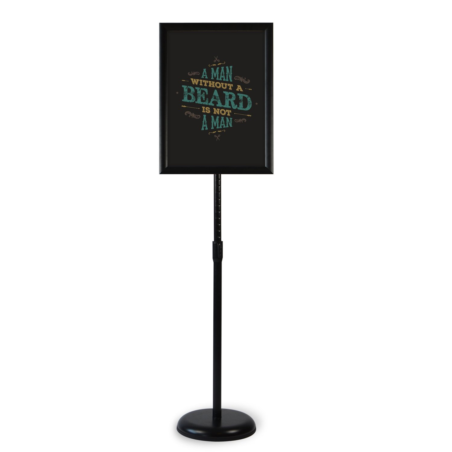 Klvied Heavy Duty Pedestal Poster Sign Stand, Adjustable Aluminum Snap Open Frame for 8.5 x 11 Inches Graphics, Both Vertical and Horizontal View, Black