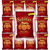 El Sabroso Salsitas Spicy Salsa Round Tortilla Chips, 1.5oz Bags (Pack of 12, Total of 18 Oz)