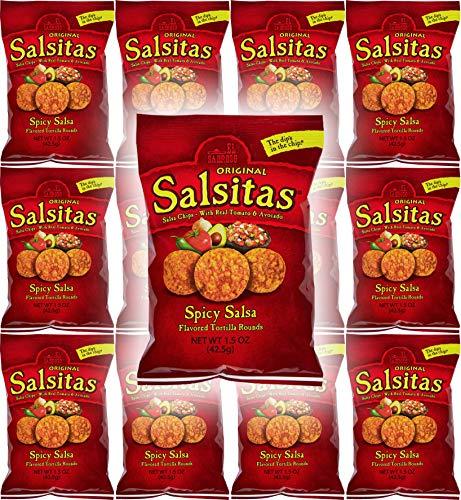 - El Sabroso Salsitas Spicy Salsa Round Tortilla Chips, 1.5oz Bags (Pack of 12, Total of 18 Oz)