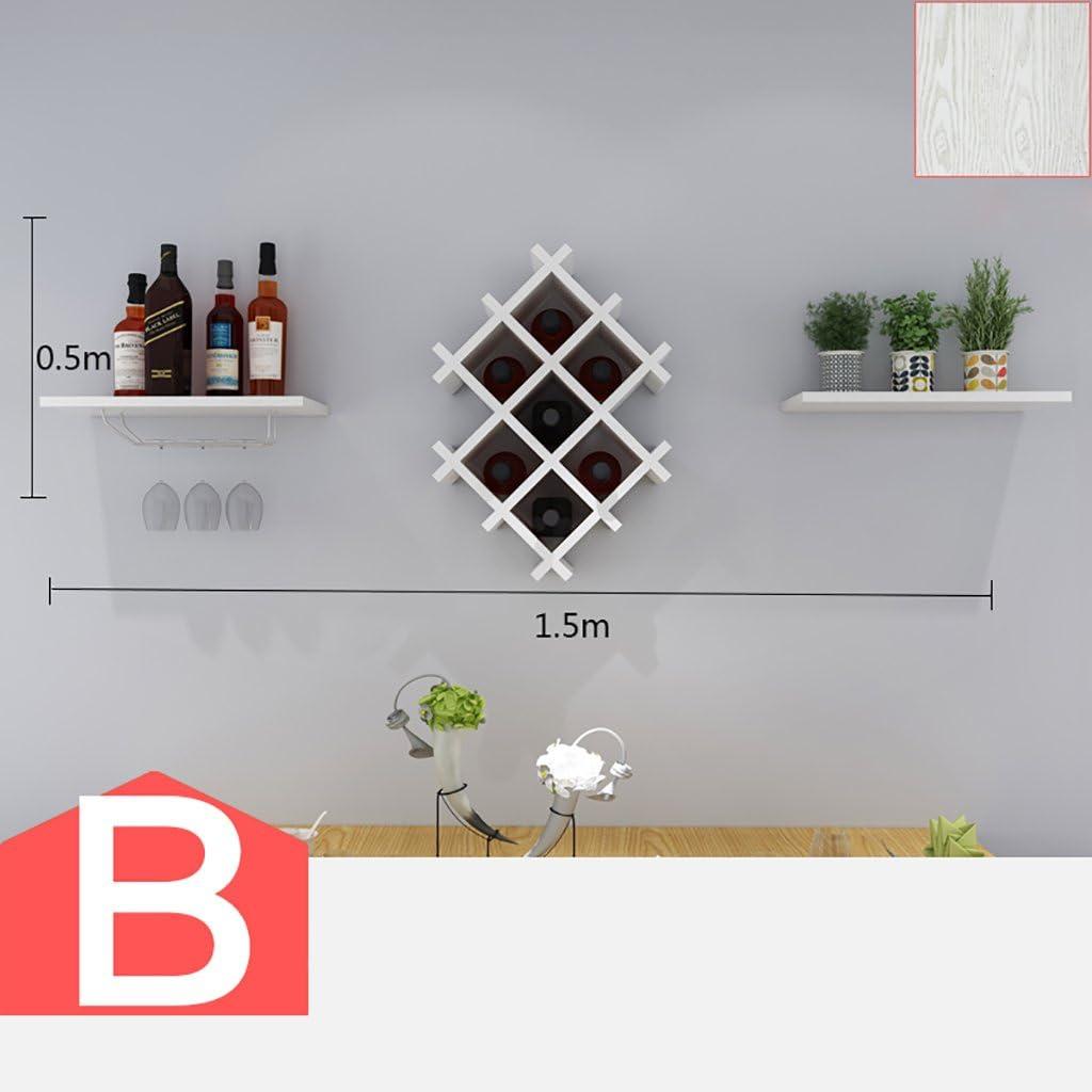 Cabinets L botellero botellero de Madera de Montaje en la Pared Mueble Bar para decoración de Pared de Bar Moderna Sala de Estar botellero Colgar en la Pared Opcional (Color : B):